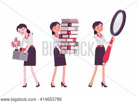 Smart Businesswoman, Business Manager Paperwork Overload, Magnifying, Fired Worker. Office Worker Pr