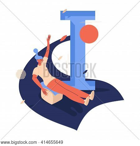 Woman On Block Riding Down The Hill. Ice Blocking Summer Activity With Capital Letter I. Sport Illus