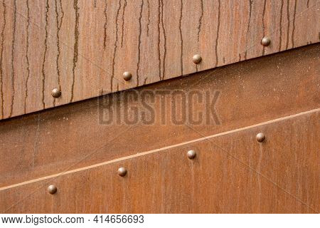 Textured Rusty Metal With Traces Of Water Drops, Metal Corrosion, Metal Background