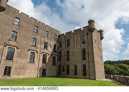 Perspective View Of Medieval Dunvegan Castle At Isle Of Skye, Scotland Without Tourists