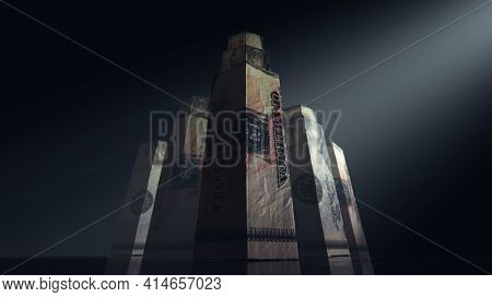 A Concept Depicting Origami Skyscrapers Formed From Folded Us Dollar Banknotes On A Dark Moody Spotl