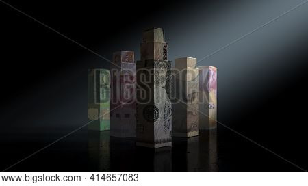 A Concept Depicting Origami Skyscrapers Formed From Folded  Banknotes Relating To The Worlds Dominan
