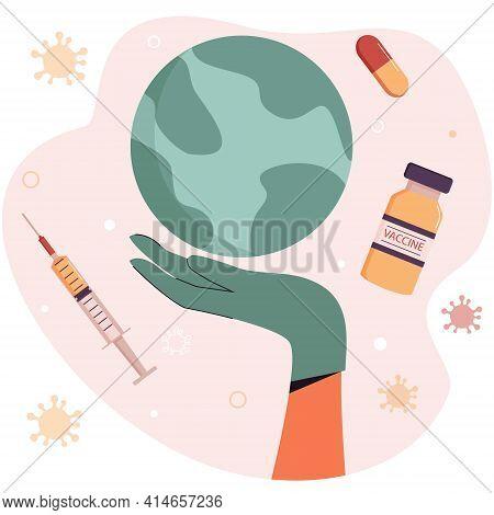 The Nurse's Gloved Hand Holds A Globe. Medical Treatment. Worldwide Vaccination. Coronavirus Prevent