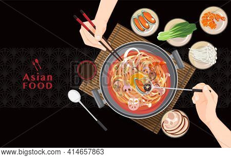 Chinese Hot Pot Asian Food, Eating Shabu Shabu And Sukiyaki In Hot Pot , Vector