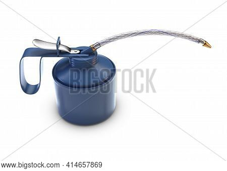 A Regular Vintage Blue Oil Can With A Long Braided Hose Nozzle On An Isolated White Studio Backgroun
