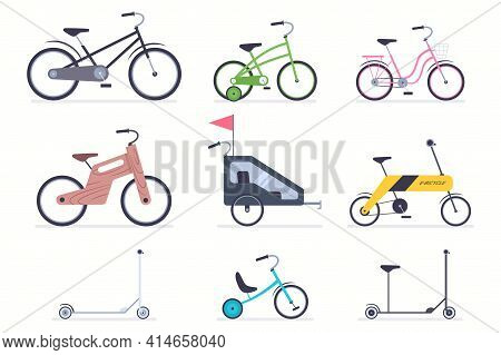 Kid Bicycles, Kick Scooter, Carts, Electro And Wood Bike For Boys And Girls. Vector Flat Simple Icon