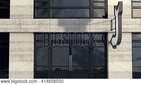 An Arrow Shaped Lightbox Sign Mounted Outside A Generic Unbranded Shop Facade On The High Street In