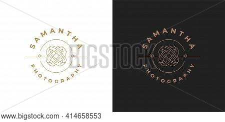 Intertwined Wedding Rings Logo Template Linear Vector Illustration