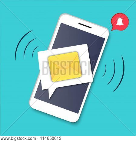 Sms Message, Incoming Notification To A Mobile Phone. Messenger On The Smartphone Screen. Call Alert