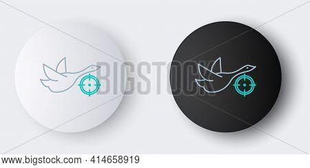 Line Hunt On Duck With Crosshairs Icon Isolated On Grey Background. Hunting Club Logo With Duck And
