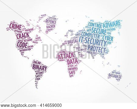 It Security Word Cloud In Shape Of World Map, Technology Concept Background