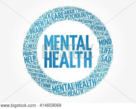 Mental Health Word Cloud, Fitness, Sport, Health Concept Background