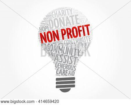 Non Profit Light Bulb Word Cloud, Social Concept Background