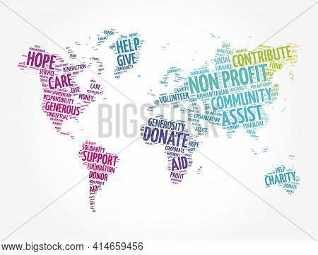 Non Profit Word Cloud In Shape Of World Map, Social Concept Background