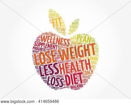 Lose Weight Apple Word Cloud Collage, Health Concept Background