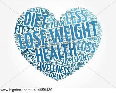 Lose Weight Heart Word Cloud Collage, Health Concept Background