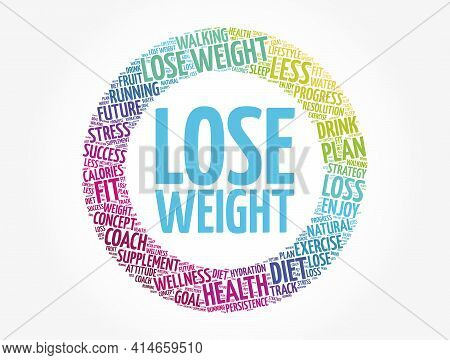 Lose Weight Circle Word Cloud Collage, Health Concept Background