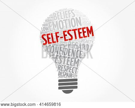 Self-esteem Light Bulb Word Cloud, Concept Background