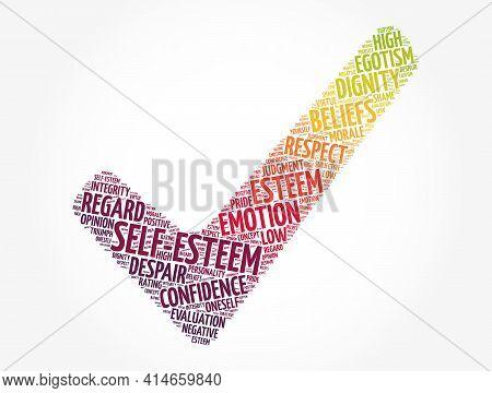 Self-esteem Check Mark Word Cloud, Concept Background