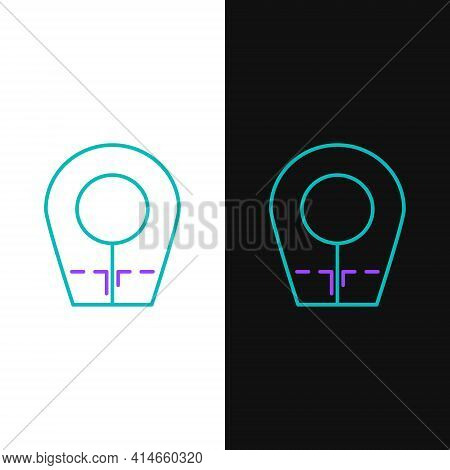 Line Diving Hood Icon Isolated On White And Black Background. Spearfishing Hat Winter Swim Hood. Div