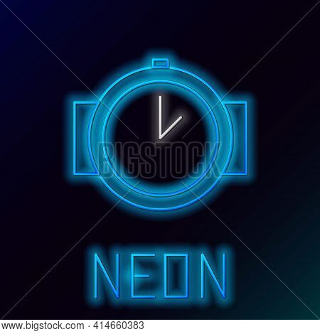 Glowing Neon Line Diving Watch Icon Isolated On Black Background. Diving Underwater Equipment. Color