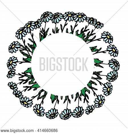 Round Frame With Daisies, Daisy Wreath, Flower Arrangement, Floral Pattern For Decor, Floral Design,