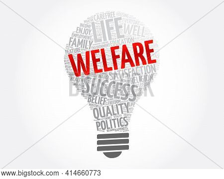 Welfare Light Bulb Word Cloud Collage, Concept Background
