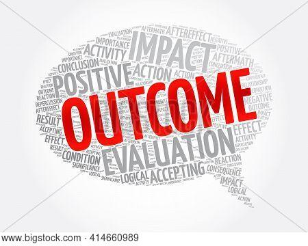 Outcome Message Bubble Word Cloud Collage, Concept Background