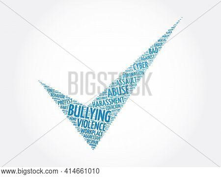 Bullying Check Mark Word Cloud Collage, Concept Background