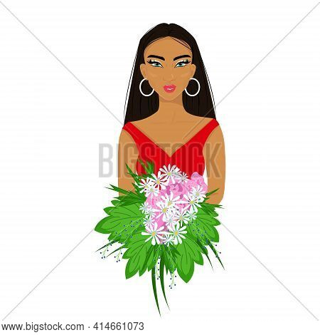 Girl In Red With A Bouquet Of Flowers In Her Hands, Pretty Afro Woman With Makeup, Beautiful Female