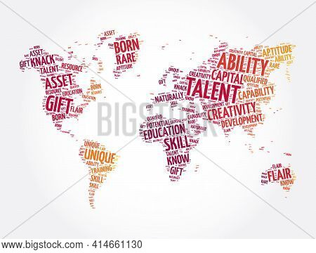 Talent Word Cloud In Shape Of World Map, Concept Background