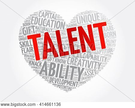 Talent Heart Word Cloud Collage, Concept Background