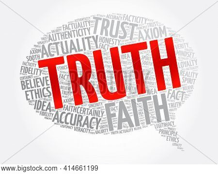 Truth Message Bubble Word Cloud Collage, Concept Background