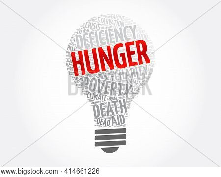 Hunger Light Bulb Word Cloud Collage, Concept Background