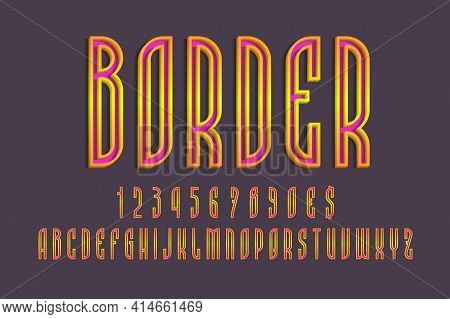 Pink Alphabet, Numbers And Currency Signs With Orange Yellow Volumetric Borders. 3d Colorful Display
