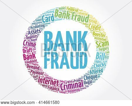 Bank Fraud Word Cloud Collage, Business Concept Background