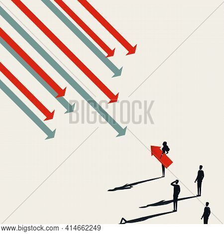 Business Leader Vector Concept, With Woman Leader Against Flow. Innovation And Invention Symbol. Min