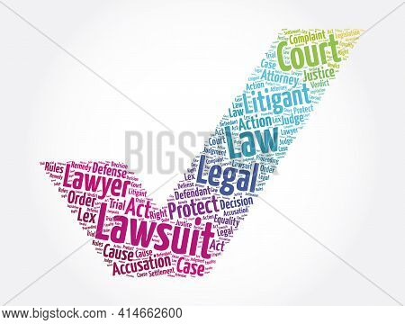 Lawsuit Check Mark Word Cloud Collage, Law Concept Background