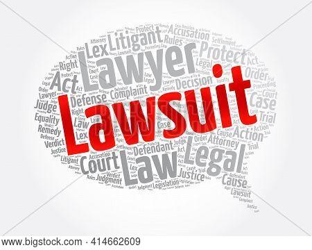 Lawsuit Message Bubble Word Cloud Collage, Law Concept Background