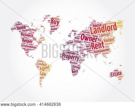 Landlord Word Cloud In Shape Of World Map, Concept Background