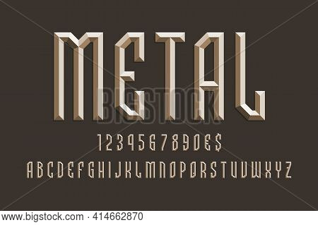 Volumetric Metallic Alphabet With Numbers And Currency Signs. 3d Display Font.