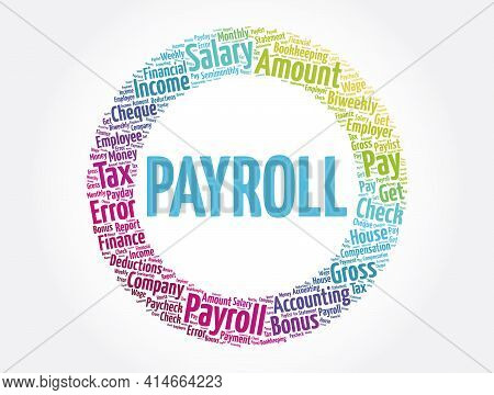 Payroll Word Cloud Collage, Business Concept Background