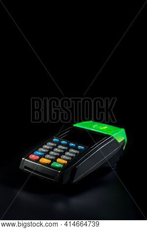 Contactless Bank Paying Terminal Isolated On Black Background With Copy Space.