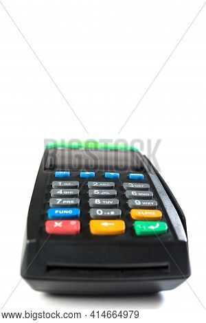 Contactless Electronic Terminal For Paying, Isolated On A White Background Close Up.