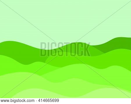 Natura Wavel Landscape In A Minimalistic Style. Plains And Mountains. Boho Decor For Prints, Posters