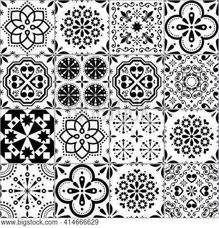 Portuguese Azulejo Tile Seamless Vector Pattern, Lisbon Geometric And Floral Black And White Retro T