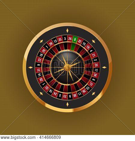 Realistic Casino Gambling Roulette Wheel. High Detailed Vector Illustration.