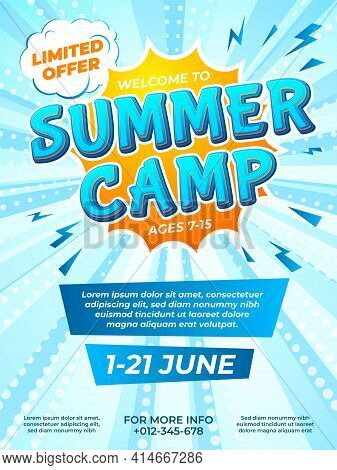 Summer Camp Poster. Child Journey, Camping Comic Style Flyer. School Kids Vacation Ad Brochure Desig
