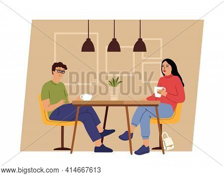 Couple On Dating. Geek Man And Woman Sitting On Cafe Table And Drink Coffee Or Tea. Romantic Date, F