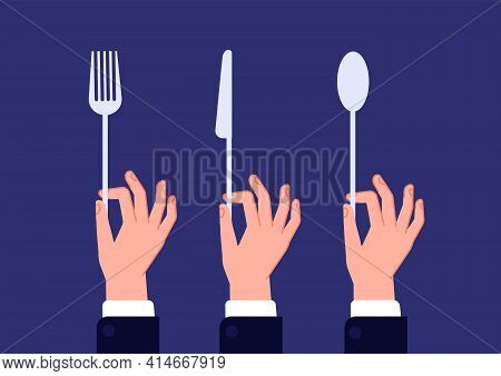 Hands With Cutlery. Hand Hold Spoon, Fork Knife. Waiter Hands Holding Kitchen Utensils, Catering In